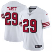 Wholesale Cheap Nike 49ers #29 Jaquiski Tartt White Rush Youth Stitched NFL Vapor Untouchable Limited Jersey