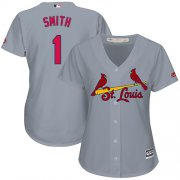 Wholesale Cheap Cardinals #1 Ozzie Smith Grey Road Women's Stitched MLB Jersey