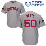 Wholesale Cheap Red Sox #50 Mookie Betts Grey New Cool Base 2018 World Series Stitched MLB Jersey