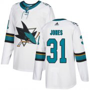 Wholesale Cheap Adidas Sharks #31 Martin Jones White Road Authentic Stitched Youth NHL Jersey