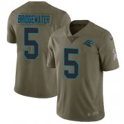 Wholesale Cheap Nike Panthers #5 Teddy Bridgewater Olive Youth Stitched NFL Limited 2017 Salute To Service Jersey