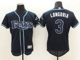 Wholesale Cheap Rays #3 Evan Longoria Dark Blue Flexbase Authentic Collection Stitched MLB Jersey