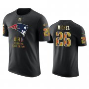 Wholesale Cheap Patriots #26 Sony Michel Black Men's Black History Month T-Shirt