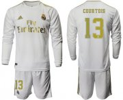 Wholesale Cheap Real Madrid #13 Courtois White Home Long Sleeves Soccer Club Jersey