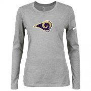 Wholesale Cheap Women's Nike Los Angeles Rams Of The City Long Sleeve Tri-Blend NFL T-Shirt Light Grey