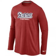 Wholesale Cheap Nike New England Patriots Authentic Font Long Sleeve T-Shirt Red