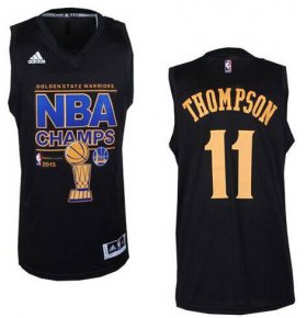 Wholesale Cheap Men\'s Golden State Warriors #11 Klay Thompson Revolution 30 Swingman 2015 Champions Fashion Black Jersey