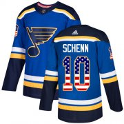 Wholesale Cheap Adidas Blues #10 Brayden Schenn Blue Home Authentic USA Flag Stitched NHL Jersey