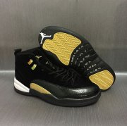 Wholesale Cheap Air Jordan 12 Retro Custom Shoes Black/Gold-White