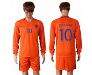 Wholesale Cheap Holland #10 Sneijder Home Long Sleeves Soccer Country Jersey