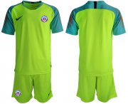 Wholesale Cheap Chile Blank Shiny Green Goalkeeper Soccer Country Jersey