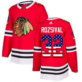 Wholesale Cheap Adidas Blackhawks #32 Michal Rozsival Red Home Authentic USA Flag Stitched NHL Jersey
