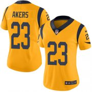 Wholesale Cheap Nike Rams #23 Cam Akers Gold Women's Stitched NFL Limited Rush Jersey