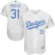 Wholesale Cheap Dodgers #31 Mike Piazza White Flexbase Authentic Collection Father's Day Stitched MLB Jersey