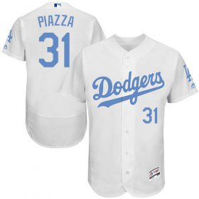 Wholesale Cheap Dodgers #31 Mike Piazza White Flexbase Authentic Collection Father\'s Day Stitched MLB Jersey