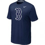 Wholesale Cheap MLB Boston Red Sox Heathered Nike Blended T-Shirt Dark Blue