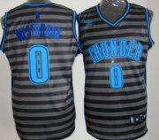 Wholesale Cheap Oklahoma City Thunder #0 Russell Westbrook Gray With Black Pinstripe Jersey