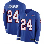 Wholesale Cheap Nike Bills #24 Taron Johnson Royal Blue Team Color Men's Stitched NFL Limited Therma Long Sleeve Jersey