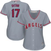 Wholesale Cheap Angels #17 Shohei Ohtani Grey Road Women's Stitched MLB Jersey