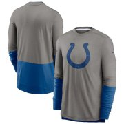 Wholesale Cheap Indianapolis Colts Nike Sideline Player Performance Long Sleeve T-Shirt Heathered Gray Royal