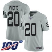 Wholesale Cheap Nike Raiders #20 Damon Arnette Silver Men's Stitched NFL Limited Inverted Legend 100th Season Jersey