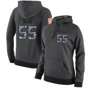 Wholesale Cheap NFL Women's Nike Los Angeles Chargers #55 Junior Seau Stitched Black Anthracite Salute to Service Player Performance Hoodie