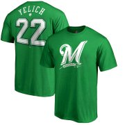 Wholesale Cheap Milwaukee Brewers #22 Christian Yelich Majestic St. Patrick's Day Stack Player Name & Number T-Shirt Kelly Green