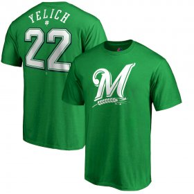 Wholesale Cheap Milwaukee Brewers #22 Christian Yelich Majestic St. Patrick\'s Day Stack Player Name & Number T-Shirt Kelly Green