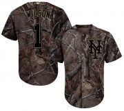 Wholesale Cheap Mets #1 Mookie Wilson Camo Realtree Collection Cool Base Stitched Youth MLB Jersey