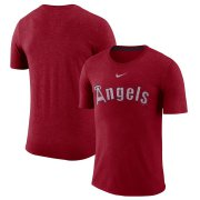 Wholesale Cheap Los Angeles Angels Nike Wordmark Tri-Blend T-Shirt Red