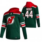 Wholesale Cheap New Jersey Devils #44 Miles Wood Adidas Reverse Retro Pullover Hoodie Green