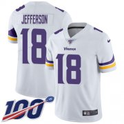 Wholesale Cheap Nike Vikings #18 Justin Jefferson White Men's Stitched NFL 100th Season Vapor Untouchable Limited Jersey
