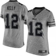 Wholesale Cheap Nike Bills #12 Jim Kelly Gray Women's Stitched NFL Limited Gridiron Gray Jersey