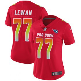 Wholesale Cheap Nike Titans #77 Taylor Lewan Red Women\'s Stitched NFL Limited AFC 2018 Pro Bowl Jersey