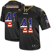 Wholesale Cheap Nike Saints #41 Alvin Kamara Black Men's Stitched NFL Elite USA Flag Fashion Jersey