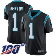 Wholesale Cheap Nike Panthers #1 Cam Newton Black Team Color Youth Stitched NFL 100th Season Vapor Limited Jersey