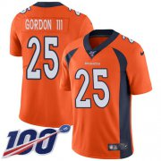 Wholesale Cheap Nike Broncos #25 Melvin Gordon III Orange Team Color Men's Stitched NFL 100th Season Vapor Untouchable Limited Jersey