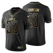 Wholesale Cheap Detroit Lions #33 Kerryon Johnson Men's Nike Black Golden Limited NFL 100 Jersey