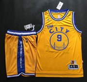 Wholesale Cheap Warriors #9 Andre Iguodala Gold Throwback The City A Set Stitched NBA Jersey