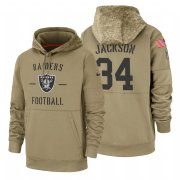 Wholesale Cheap Oakland Raiders #34 Bo Jackson Nike Tan 2019 Salute To Service Name & Number Sideline Therma Pullover Hoodie