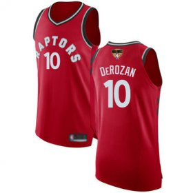 Wholesale Cheap Raptors #10 DeMar DeRozan Red 2019 Finals Bound Basketball Authentic Icon Edition Jersey
