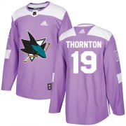 Wholesale Cheap Adidas Sharks #19 Joe Thornton Purple Authentic Fights Cancer Stitched Youth NHL Jersey