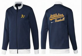 Wholesale Cheap MLB Oakland Athletics Zip Jacket Dark Blue_1