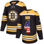 Wholesale Cheap Adidas Bruins #4 Bobby Orr Black Home Authentic USA Flag Youth Stitched NHL Jersey