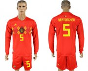 Wholesale Cheap Belgium #5 Vertonghen Red Home Long Sleeves Soccer Country Jersey