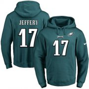 Wholesale Cheap Nike Eagles #17 Alshon Jeffery Midnight Green Name & Number Pullover NFL Hoodie