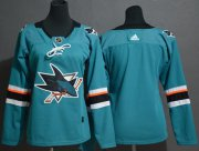Wholesale Cheap Adidas Sharks Blank Teal Home Authentic Women's Stitched NHL Jersey