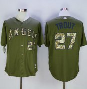 Wholesale Cheap Angels of Anaheim #27 Mike Trout Green Camo New Cool Base Stitched MLB Jersey