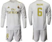 Wholesale Cheap Real Madrid #6 Nacho White Home Long Sleeves Soccer Club Jersey