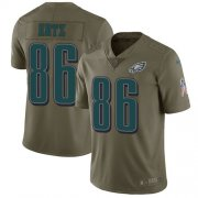 Wholesale Cheap Nike Eagles #86 Zach Ertz Olive Youth Stitched NFL Limited 2017 Salute to Service Jersey